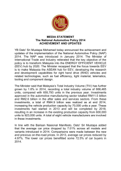 Media Statement - Achievement and Updates of NAP 2014