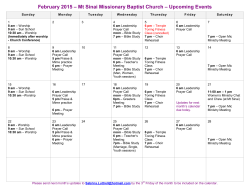 February 2015 Calendar of Events