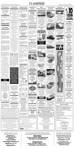 CLASSIFIEDS - Daily Globe