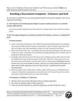 Handling a Harassment Complaint -‐ Volunteer and