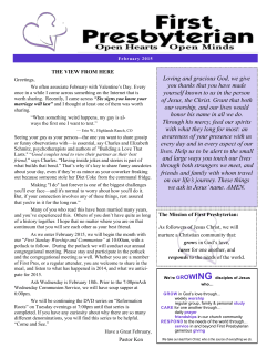 Newsletter - First Presbyterian Church
