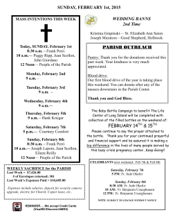Bulletin February 1, 2015 - St. Elizabeth Ann Seton Church