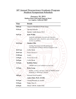 NGP Symposium Schedule - USC Neuroscience Graduate Program