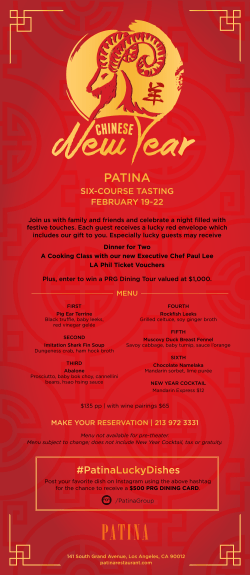 Chinese New Year - Enjoy a six-course lucky tasting menu