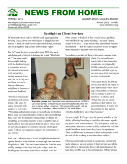 January 2015 Newsletter - Housing Opportunities Made Equal