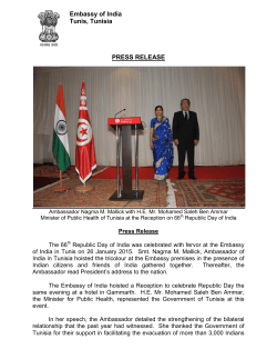 66th Republic Day of India celebrated in Tunis on 26th January 2015