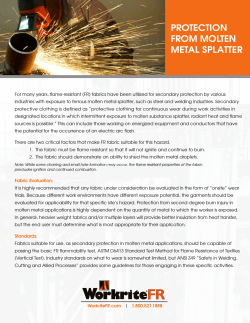 PROTECTION FROM MOLTEN METAL SPLATTER