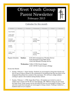 Olivet Youth Group Parent Newsletter