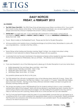 daily notices monday, 2 february 2015