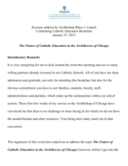 The Future of Catholic Education in the Archdiocese of Chicago