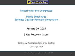 Five Key Recovery Issues - the City of Myrtle Beach