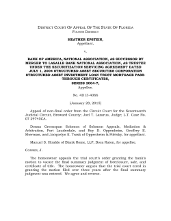 Epstein v. Bank of America - Fourth District Court of Appeal