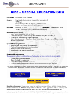 aide – special education sdu - San Elizario Independent School