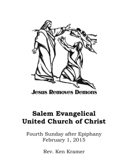 February 1st Bulletin - Salem Evangelical United Church of Christ