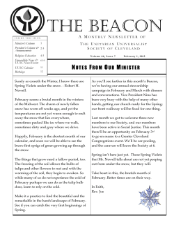February 2015 Beacon - Unitarian Universalist Society of Cleveland