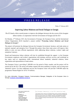 Improving Labour Relations and Social Dialogue in Georgia