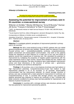 Assessing the potential for improvement of primary care in 34