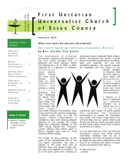 Newsletter - First Unitarian Universalist Church of Essex County