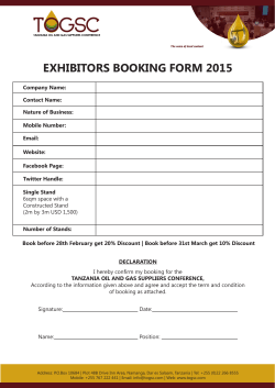2015 Exhibition Booking Form