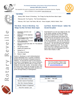 Bulletin -- January 30th ,2015 - The Rotary Club of North Bethesda