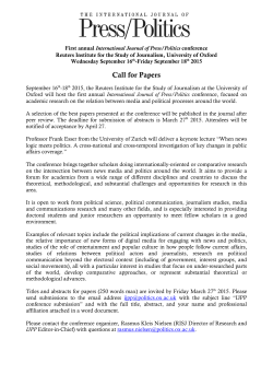 IJPP Conference Call for Papers - The International Journal of Press