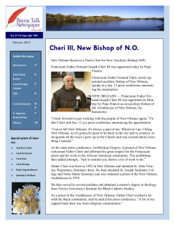 Cheri III, New Bishop of N.O.