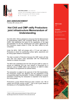 Hot Chili and CMP Ratify Joint Infrastructure