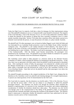 Judgment summary - High Court of Australia