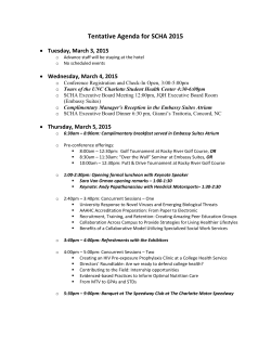 Tentative Agenda for SCHA 2015