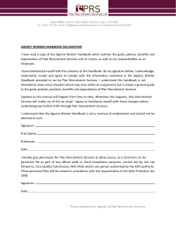 AGENCY WORKER HANDBOOK DECLARATION