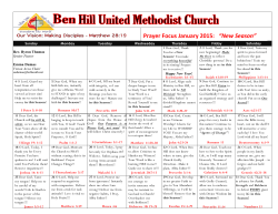 Prayer Calendar - Ben Hill United Methodist Church