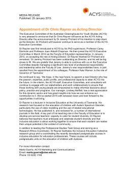 Appointment of Dr Chris Rayner as Acting Director