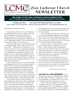 NEWSLETTER - Zion Lutheran Church LCMC