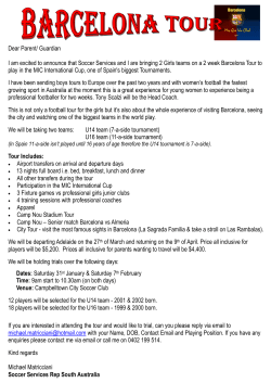 information on the soccer tour for girls to Spain. Hurry closes soon.