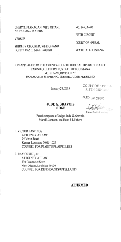 JUDE G. GRAVOIS AFFIRMED - Fifth Circuit Court of Appeal