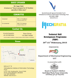 TSDP Brochure - Vishwakarma Institute of Information Technology