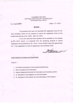Imp Notice for Submission of Registration form( Those who have not