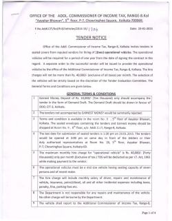 TEN DER NOTICE - Income Tax Department