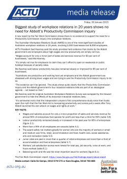 ACTU Media Release – no need for FWC study (PDF version)