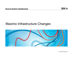 Maximo Infrastructure Changes