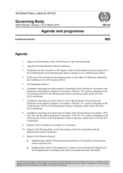 Governing Body Agenda and programme