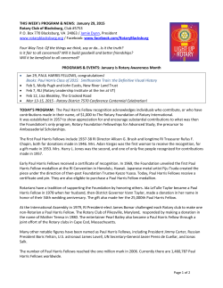 Bulletin 01 29 15 - The Rotary Club of Blacksburg