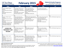 monthly calendar - Moores Cancer Center