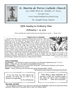 Current Bulletin - St. Martin de Porres Catholic Church