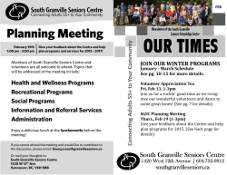 Latest Newsletter - South Granville Seniors Centre