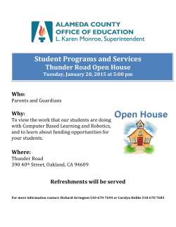Student Programs and Services Thunder Road Open House