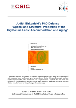 "Judith Birkenfeld's PhD Defense ""Optical and Structural Properties of"