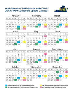 2015 Dashboard Calendar - Virginia Department of Minority Business
