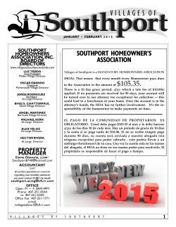 SOUTHPORT HOMEOWNER'S ASSOCIATION - The Villages of