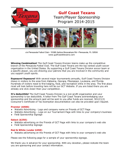 Gulf Coast Texans Team/Player Sponsorship Program 2014-2015